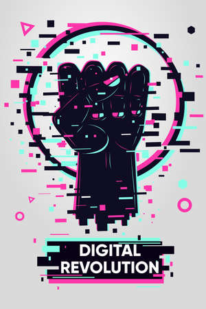 Glitch style poster with human hand. Solidarity and freedom sign. Digital resistance vector background. Online protest illustration. Ilustração