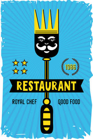 Restaurant and cafe poster with fork and crown. Vintage vector background for food service. Menu cover template.