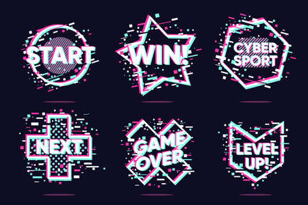 Video game vector icons. Glitch style lable set. Cyberpunk vector elements. Hologram UI