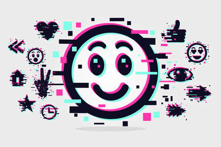 Glitch style illustration with smile face. Emoji vector icon. Social media background.