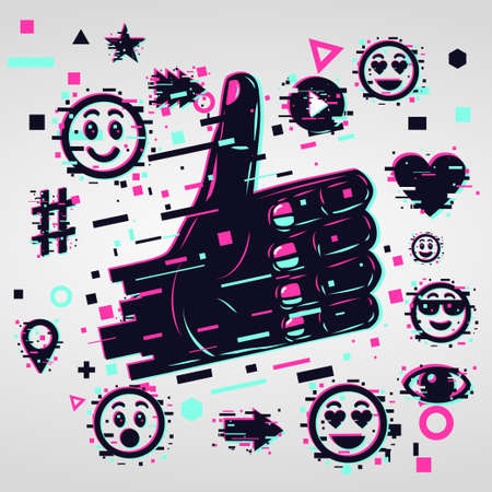 Glitch style illustration with human hand. Like vector icon. Social media background.