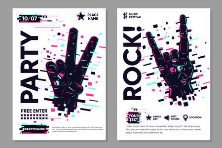 Glitch style poster with human hand. Online party banner template. Disco and rock music festival background.