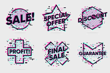 Sale banners collection. Cybersale signs set. Digital marketing design elements. Glitch style lable. Vector icons set.