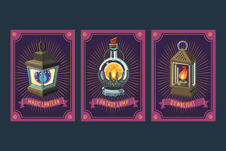 Fantasy card set with antique lanterns. Magic lamp set. Card game design. Collection items.