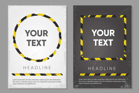 Barricade tape posters set. Duct tape background. Warning banner template. Vector design. Abstract minimal style.