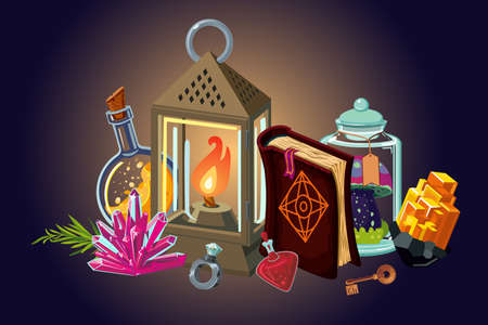 Fantasy background. Magic items collection. Video game items, cartoon style illustration. Vector art.