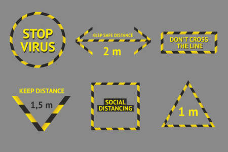 Social distancing banner collection. Barricade tape set. Safety area banners. Danger zone protection.