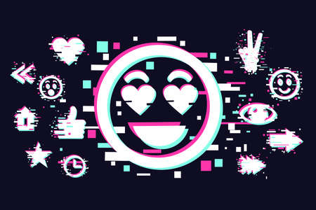 Glitch style illustration with scartoon face. Emoji vector icon. Social media background.