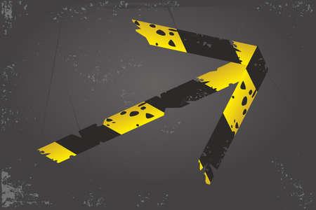 Quarantine banner. Barricade tape arrow. Direction and navigation sign. Duct tape on a floor. Vector design. Ilustração