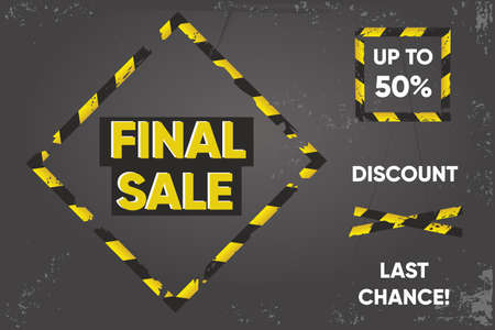 Quarantine sale banner. Barricade tape signs. Discount background. Duct tape on a floor. Vector design.