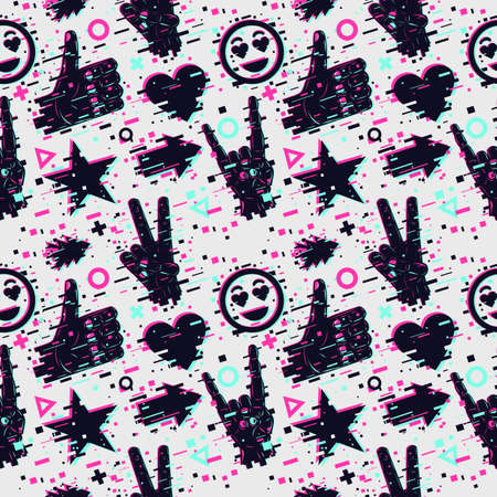 Seamless pattern with human hands. Vector texture. Social media backdrop. Glitch style background with neon colors. Ilustração