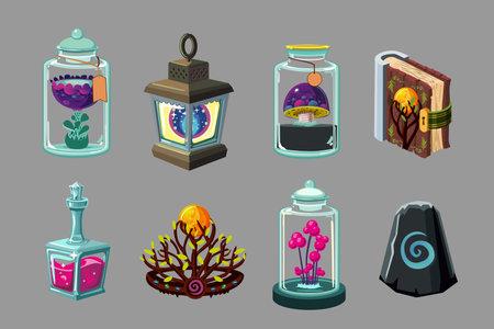 Cartoon icon set. Casual fantasy game design. Vector signs. Mobile app gui set. Concept art.