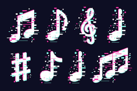Music notes icons set. Vector musical signs. Modern sound concept, trendy illustration. Glitch style symbols collection.