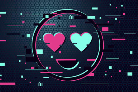 Love icon. Glitch style vector background with cartoon face. Neon color face with hearts in the eyes. Gamer illustration.