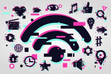 glitch style illustration. Media streaming service. Computer network background.