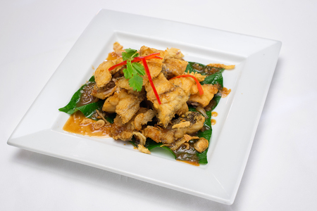 sweet and sour: Deep fried fishes fillet with sweet  sour sauce