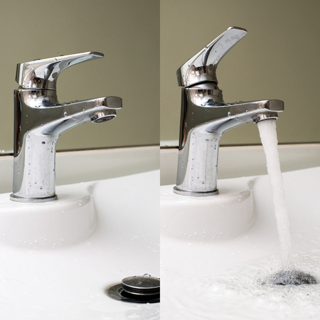 kitchensink: close  open water tap Stock Photo