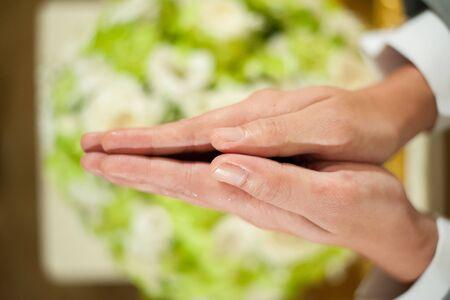 namaskar: Put the hand together Asian salute