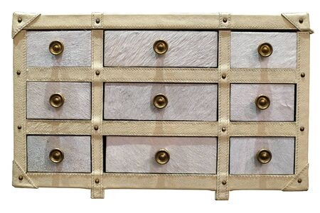 drawers: Rows of white leather drawers