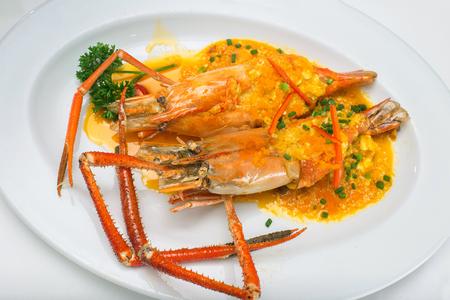 favorite soup: Stir fried giant freshwater prawn curry Thai cuisine Stock Photo