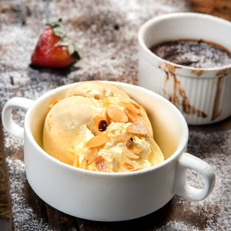 favour: vanila ice cream in white cup with hot chocolate