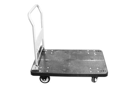 consignment: Hand truck isolated on white Stock Photo