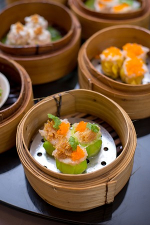 Chinese Shrimp Steamed Dumpling - Dimsum Yumcha Shumai Topping with sharks fin