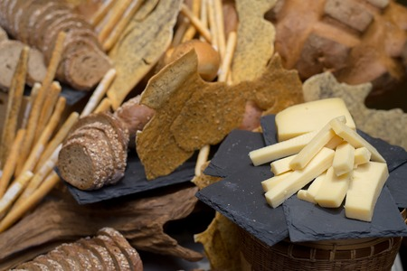 sliced of cheese with various of bread