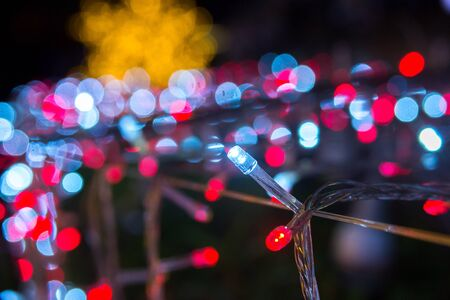 blue blinking with colorful bokeh