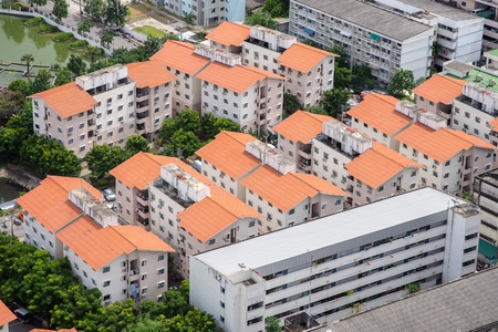 Aerial view of houses in residential area