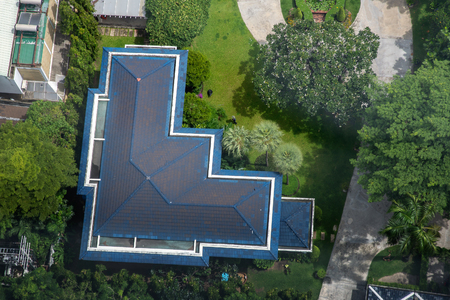 Aerial view of blue roof house Reklamní fotografie