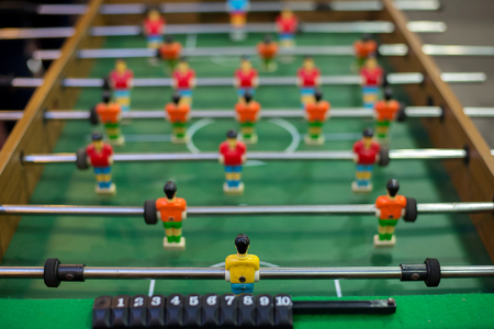 goal keeper: Table soccer from behind goal keeper command view angle