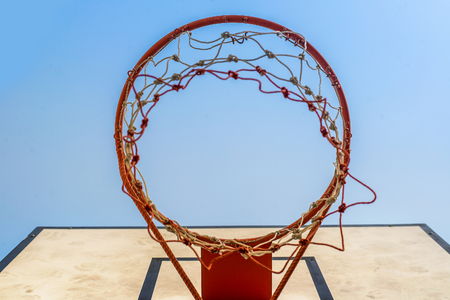 intramural: Basketball hoop under  blue sky Stock Photo