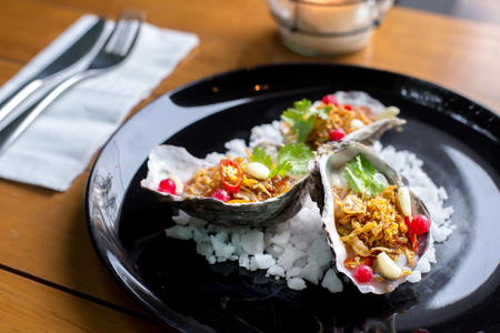 Oysters with spicy thai herb