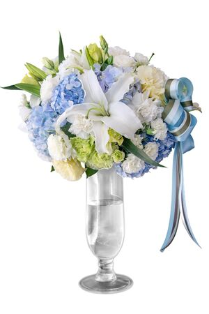 flower bouquet in vase isolate on white background