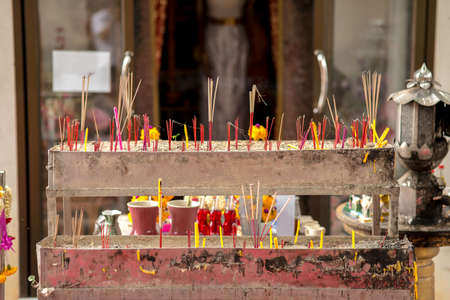 Praise the buddha by joss stick worship method of buddhist to recall triple gem of buddha