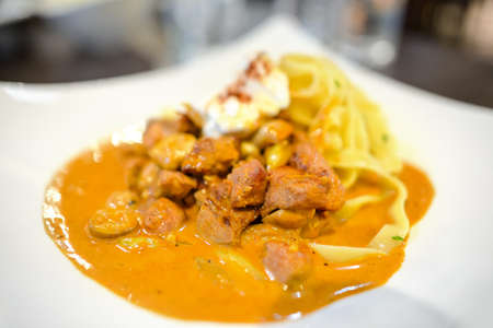 beef stroganoff with pasta, russian cuisine