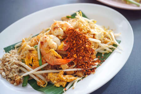 Pad thai , Stir fry vermicelli or noodles with shrimp - Thai favourit food