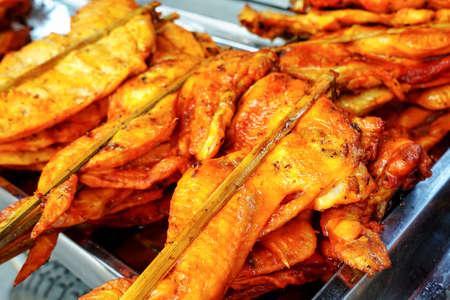 Thai street food skewer chicken Grilled chicken thigh ,