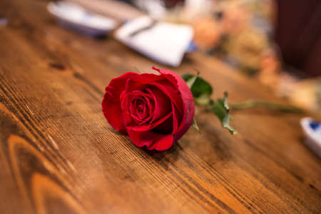 romance red rose on wooden table