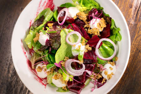 Quinoa and beetroot salad with another vegetable