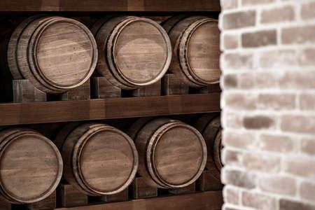 Wine Barrele in vintage color Archivio Fotografico