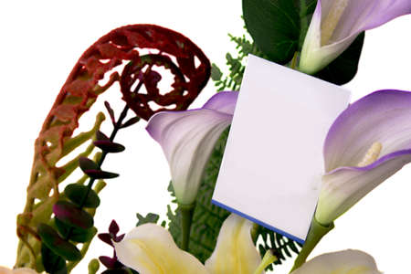 Blank card on bunch of flower