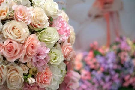 The arrangement of bunch of decorative flowers
