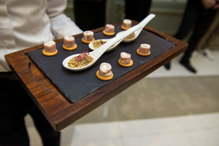 canape on slate platter