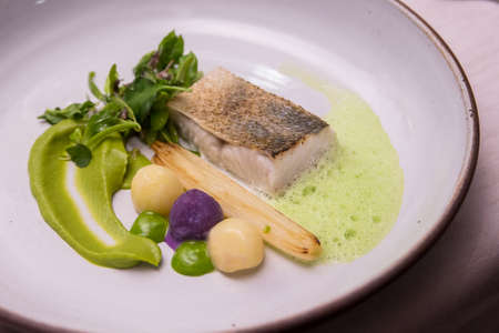 Grilled fillet seabass eat with healthy vegetable Banque d'images