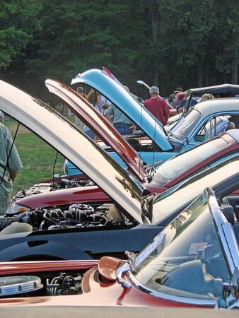Hoods up at the car show Archivio Fotografico
