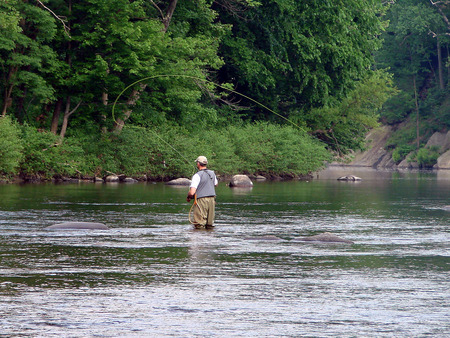 A fly fisherman making a cast
