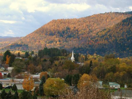 A small New England town in autumn