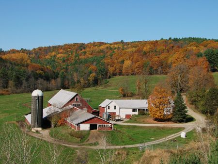A classic Vermont farm in the fall photo